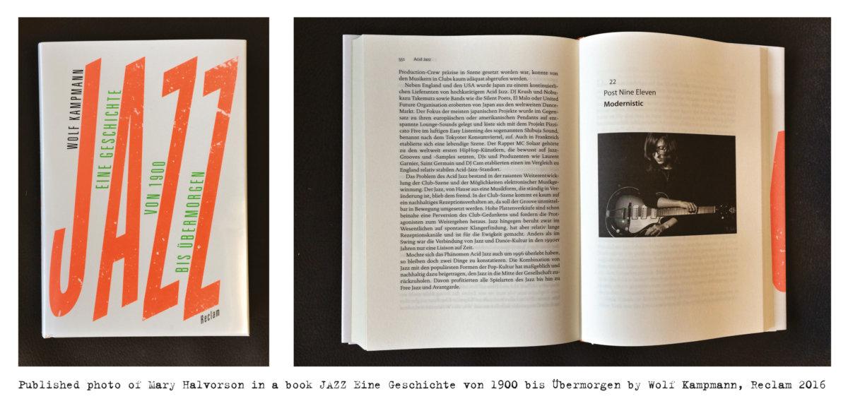 Published photo of Mary Halvorson in a book JAZZ Eine Geschichte von 1900 bis Übermorgen by Wolf Kampmann, Reclam 2016